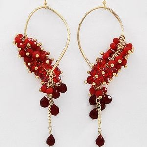 Ruby and Cherry Red Waterfall Dangle Earrings